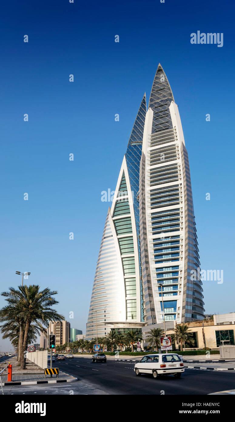 world trade center modern landmark skyscraper in central manama city bahrain - Stock Image