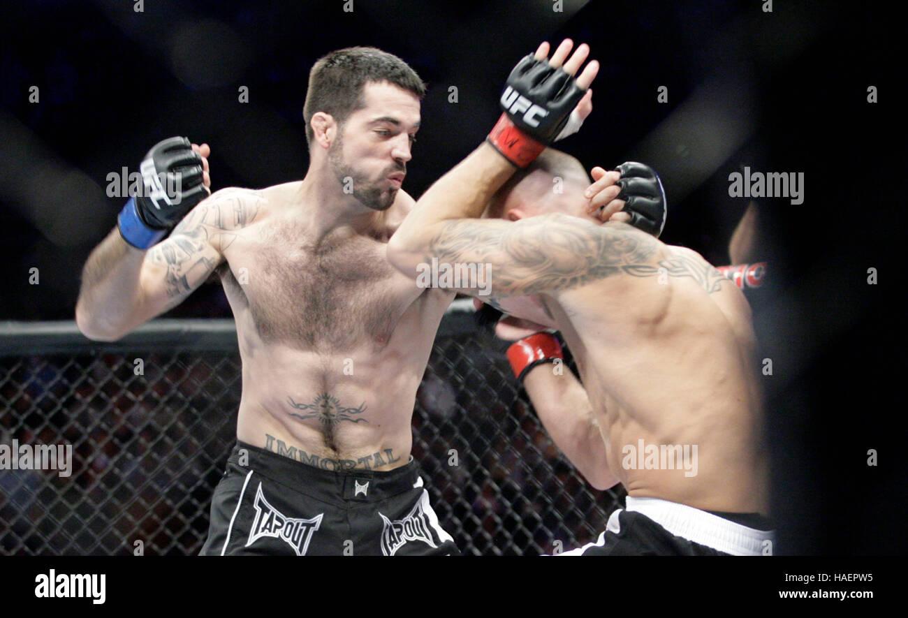 Matt Brown, left, fights Pete ...