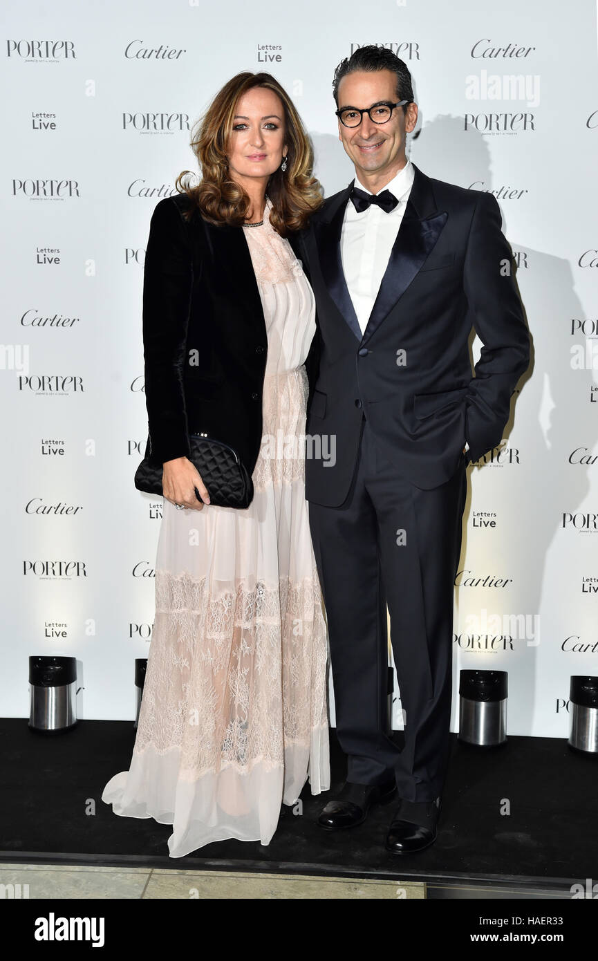 Erdem Moralioglu and Lucy Yeomans attending the Letters Live Black Tie Gala Dinner, at the V&A, London. PRESS - Stock Image