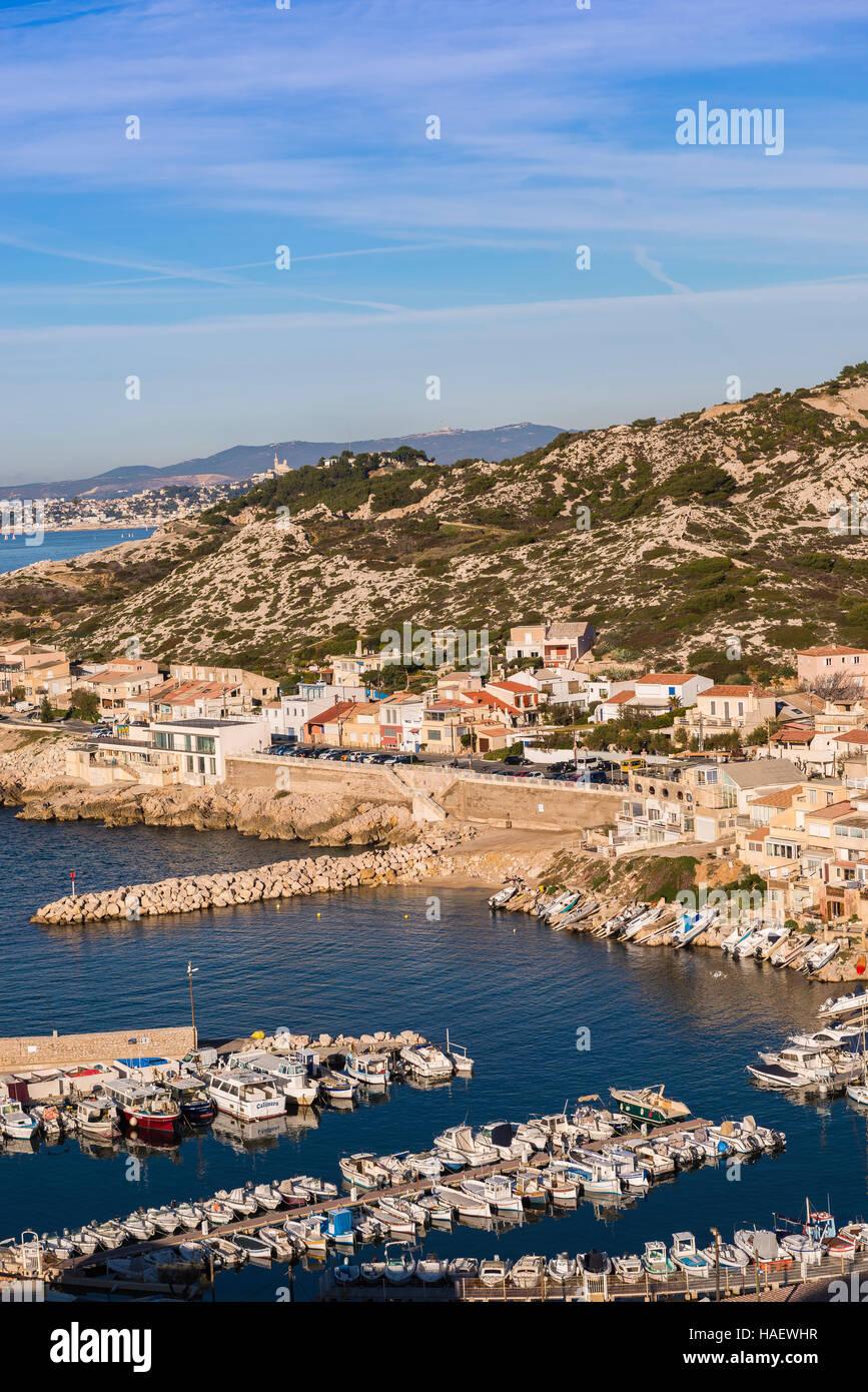 Marseille Les Goudes Bouches du Rhone 13 PACA France Europe // The district of Les Goudes in Marseille Bouches du - Stock Image