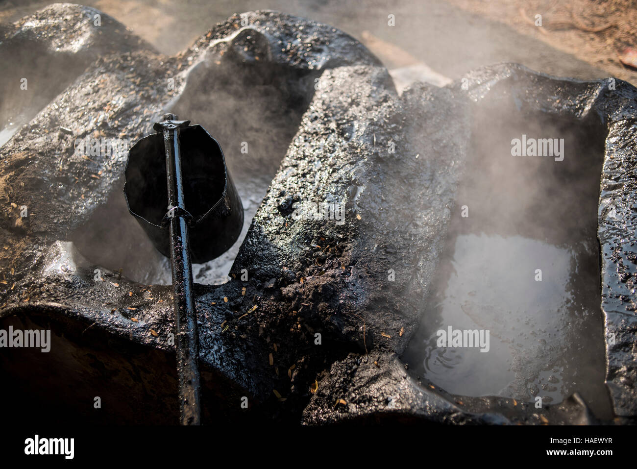 molten tarmac in Bagan, Myanmar. - Stock Image