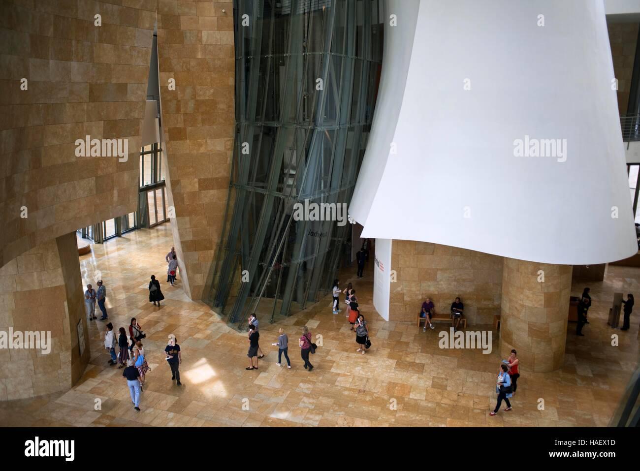 Inside Guggenheim Museum, Bilbao, Euskadi, Basque Country, Spain. One of the stops of the Transcantabrico Gran Lujo - Stock Image