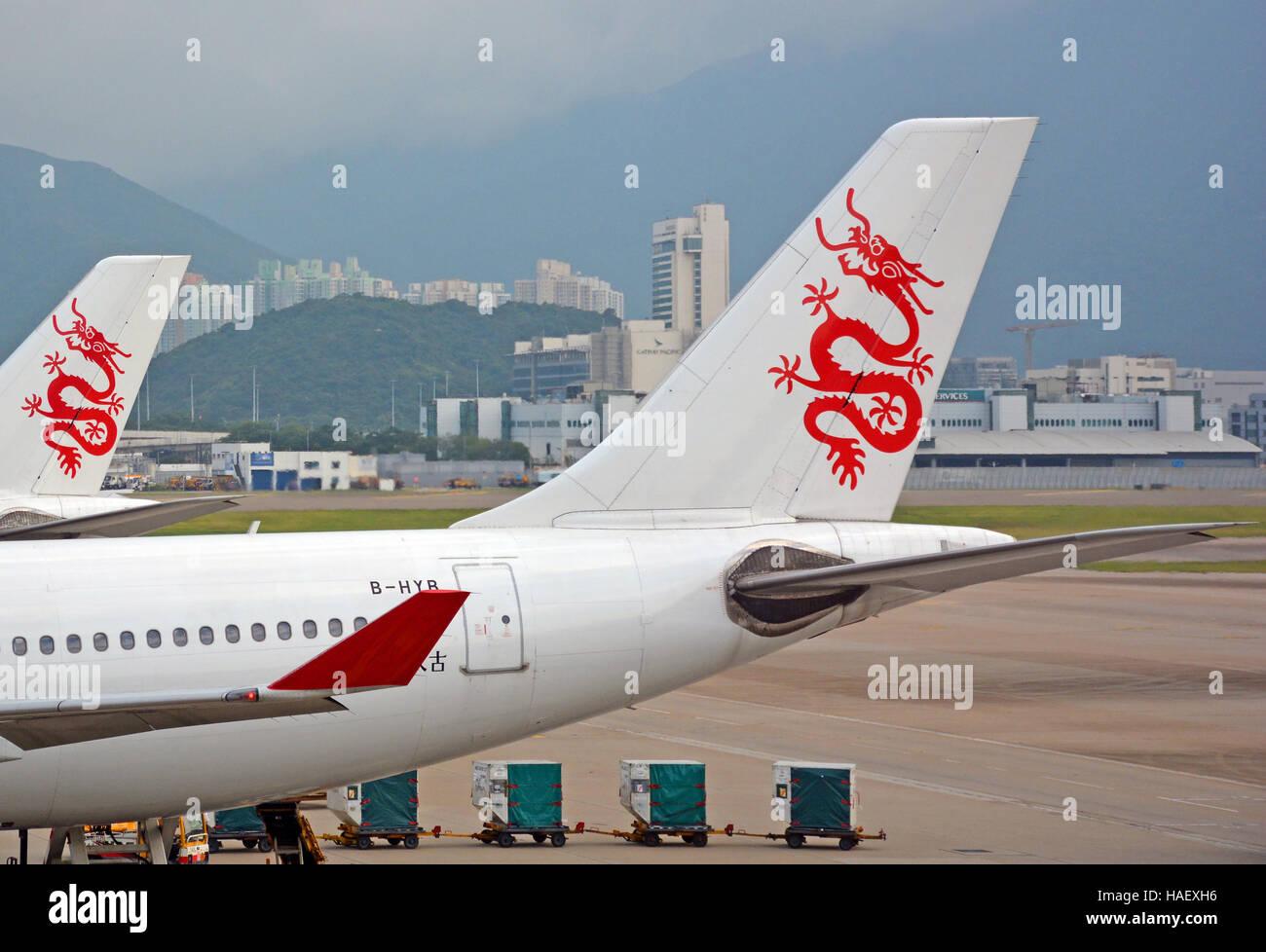 Dragonair planes  Hong Kong international airport - Stock Image