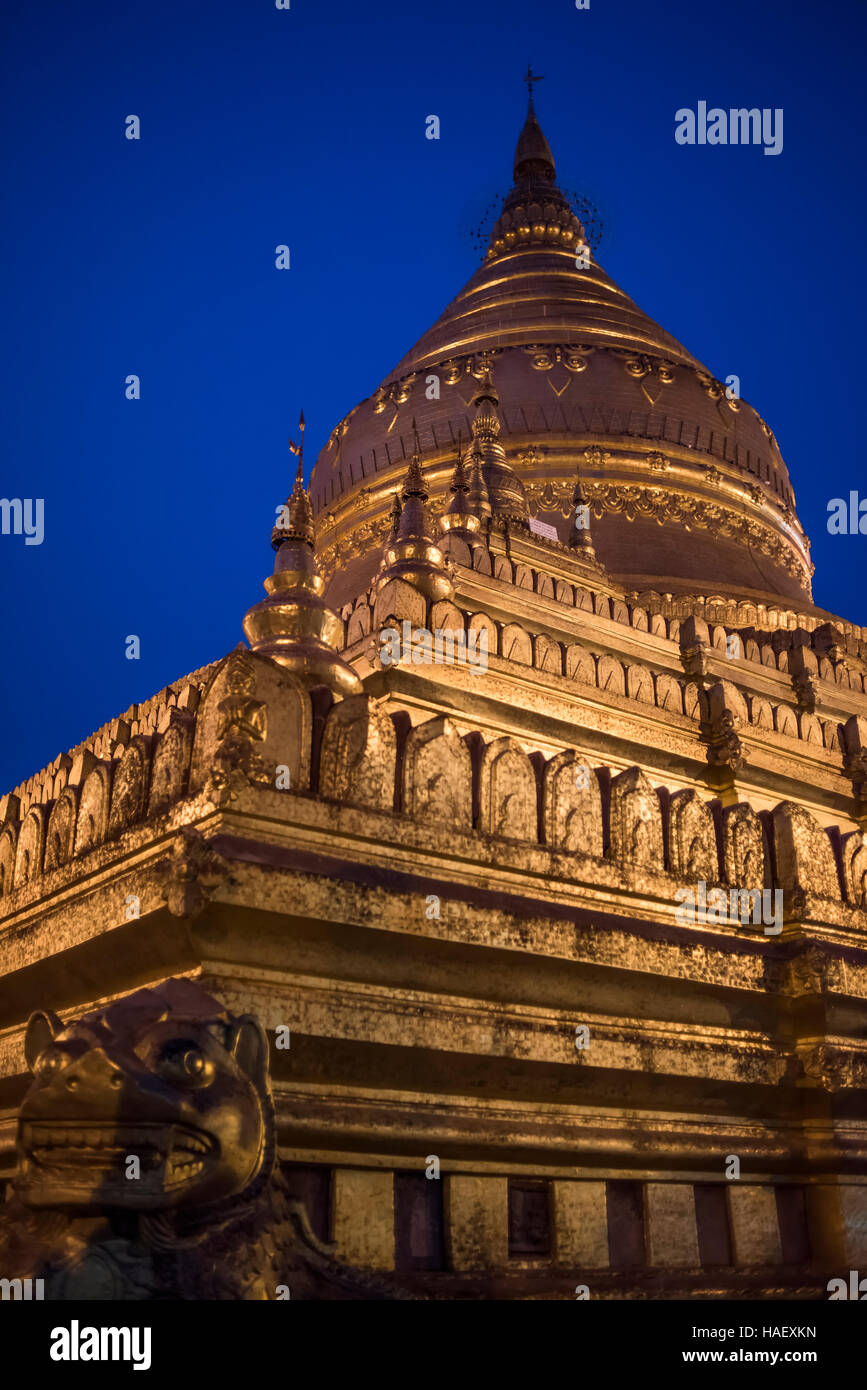 Shwezigon Pagoda by night, Bagan, Myanmar. Stock Photo