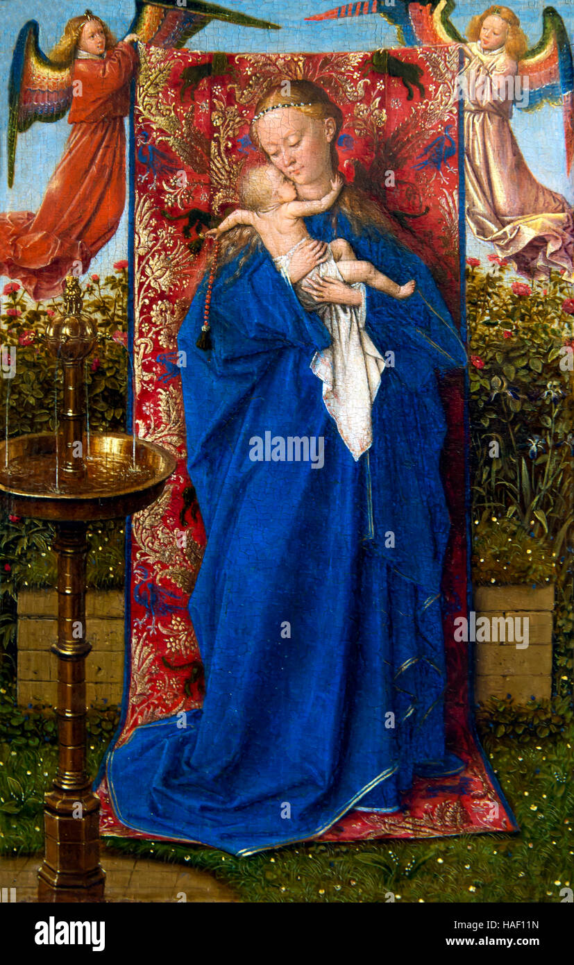 Madonna at the Fountain, by Jan van Eyck, 1439, Royal Museum of Fine Arts, Antwerp, Belgium, Europe Stock Photo