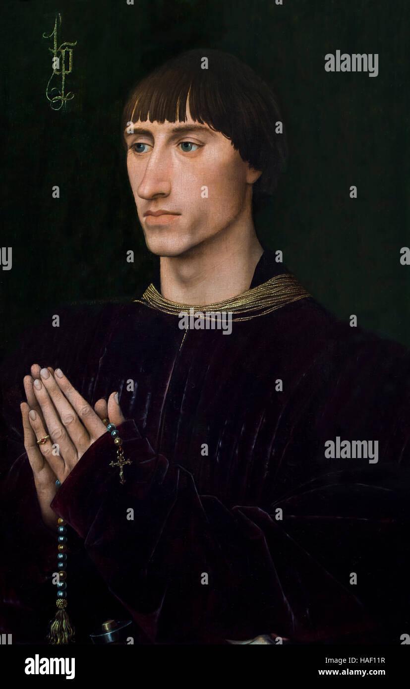 Portrait of Philippe de Croy, by Rogier van der Weyden, circa 1460, Royal Museum of Fine Arts, Antwerp, Belgium, - Stock Image