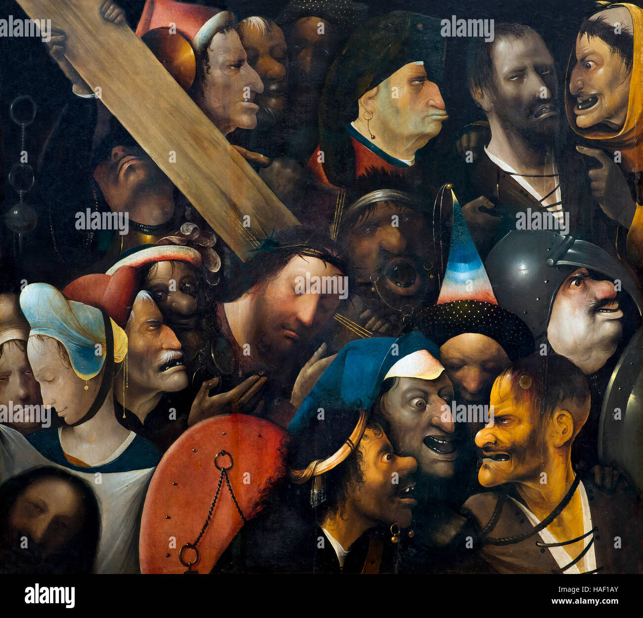 Christ Carrying the Cross, by Hieronymus Bosch, circa 1510-16, Museum of Fine Arts, Ghent, Belgium, West Flanders, Stock Photo