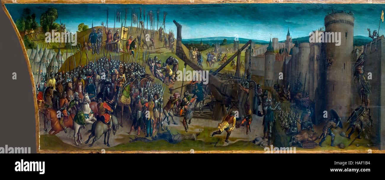 Titus' Conquest of Jerusalem, by Vienna Master of Mary of Burgundy, circa 1480, Museum of Fine Arts, Ghent, - Stock Image