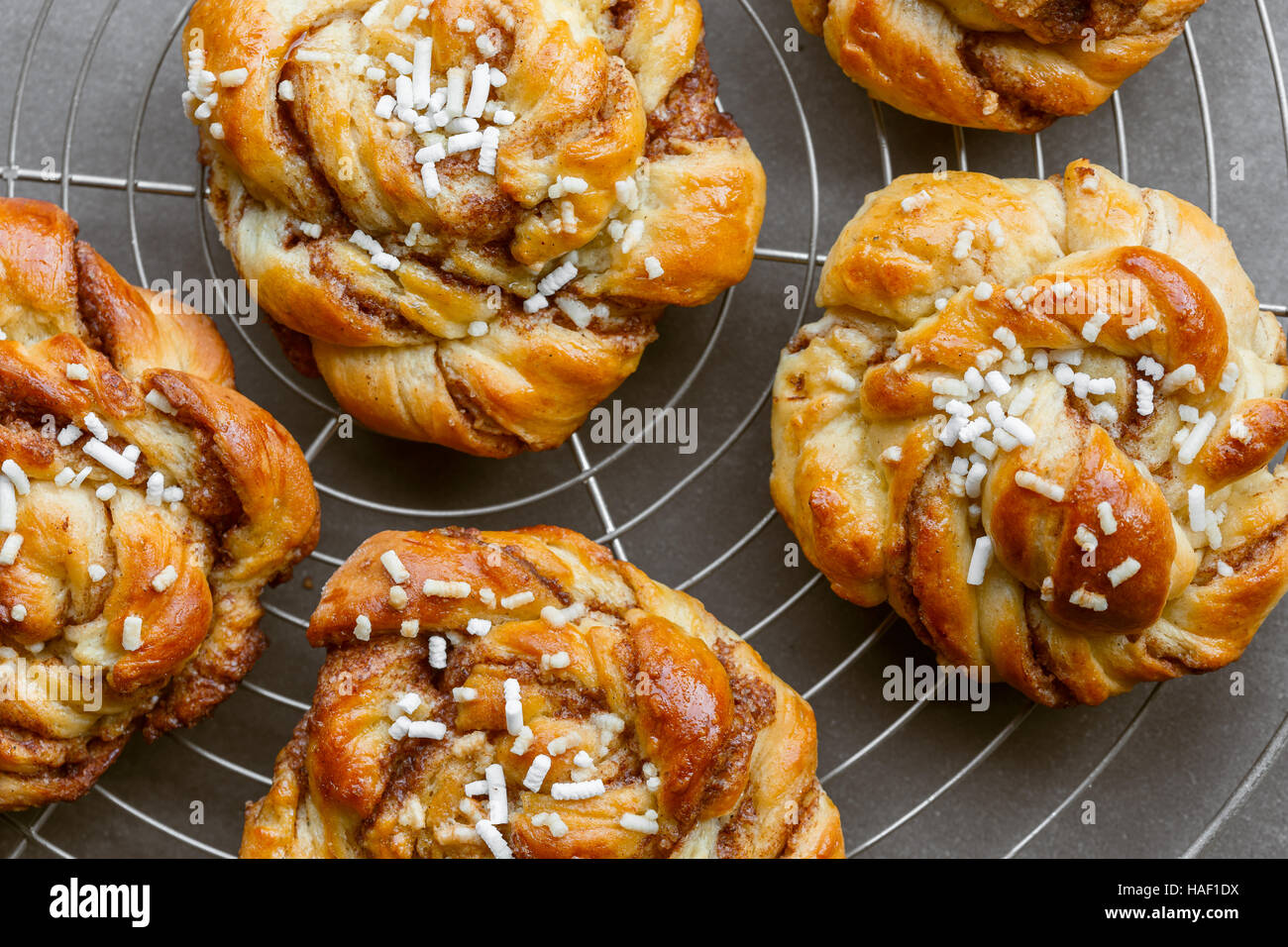 Sweet cinnamon bun rolls on cake rack - Stock Image