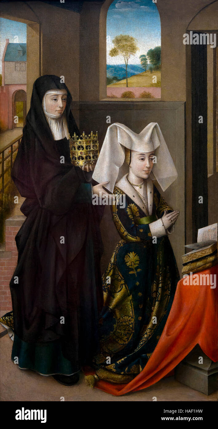 Isabella of Portugal with Saint Elisabeth, by Petrus Christus, circa 1460, Groeningemuseum, Bruges, West Flanders, - Stock Image