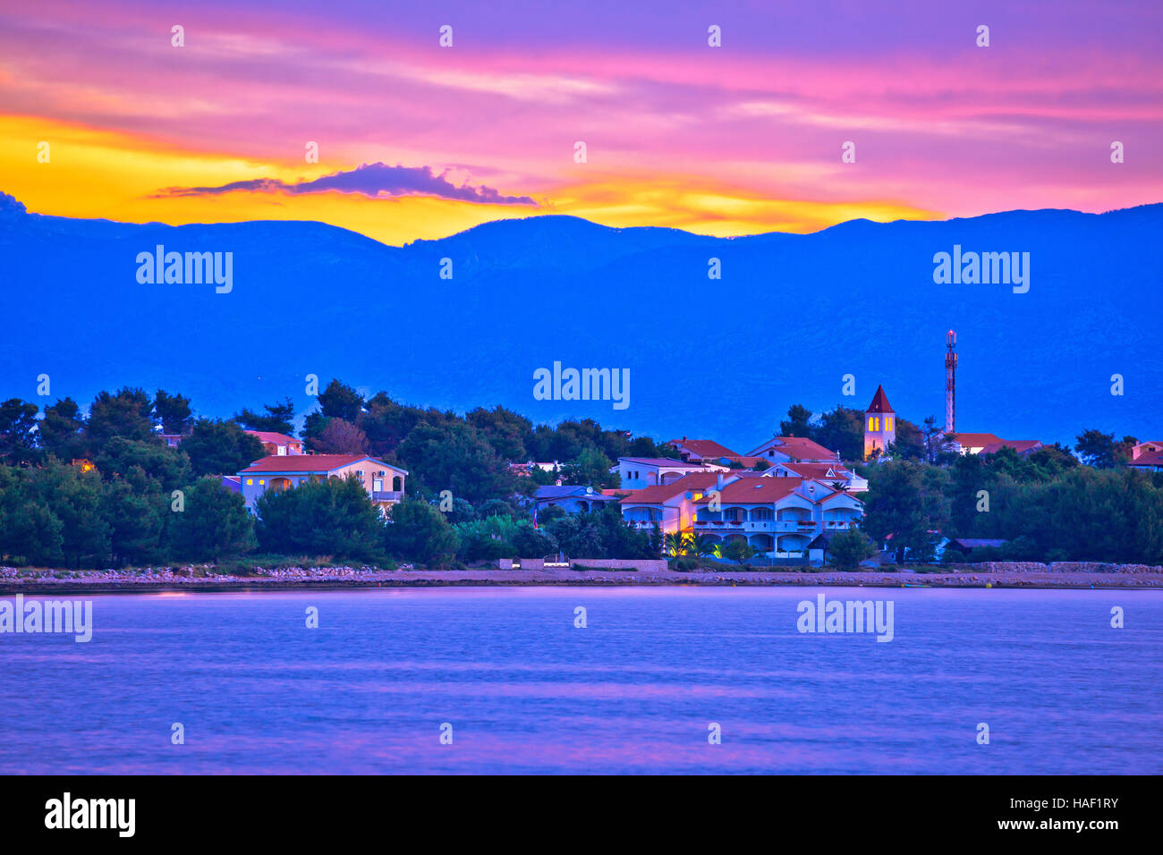 Colorful dawn on Vir island, coast and Velebit mountain view, Dalmatia, Croata Stock Photo