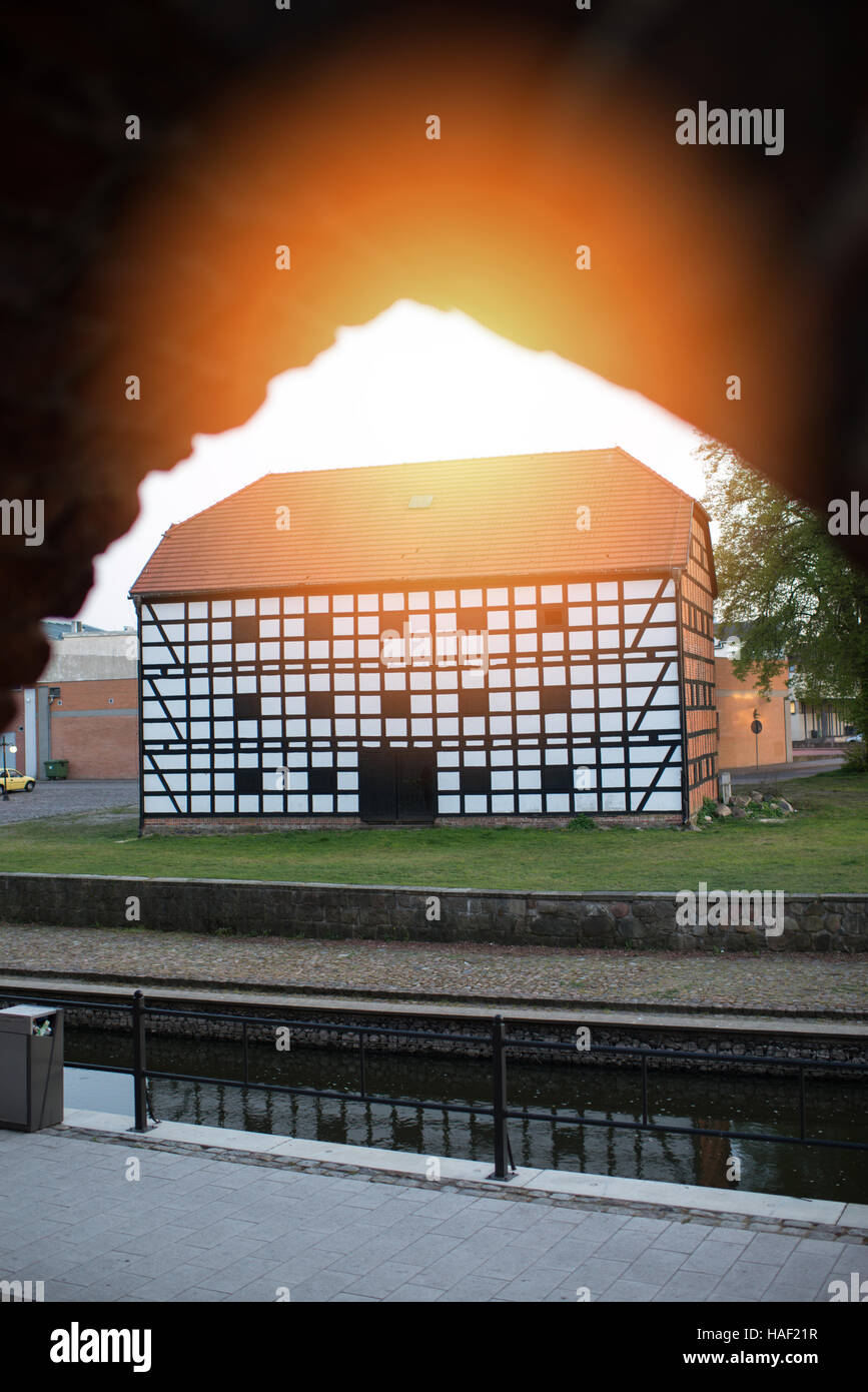 old granary in in the city made of timbered - Stock Image