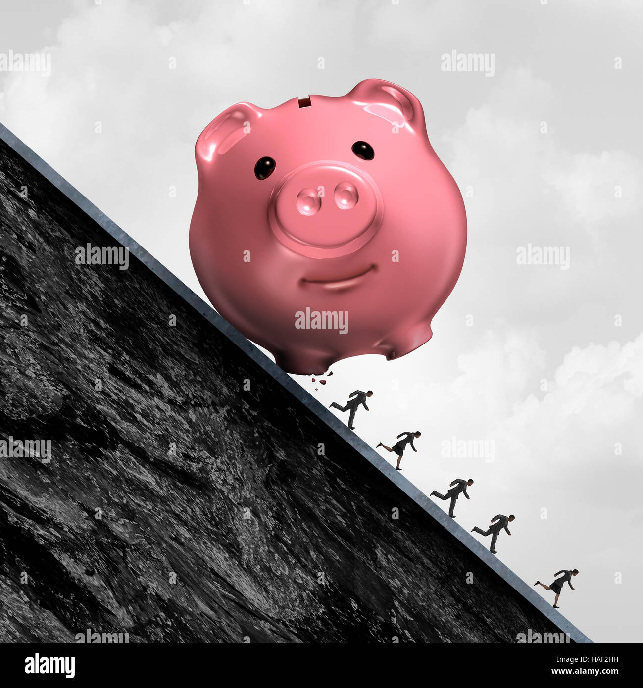 Financial debt pressure and accounting expenses stress as a piggy bank rolling down a hill with people running away - Stock Image