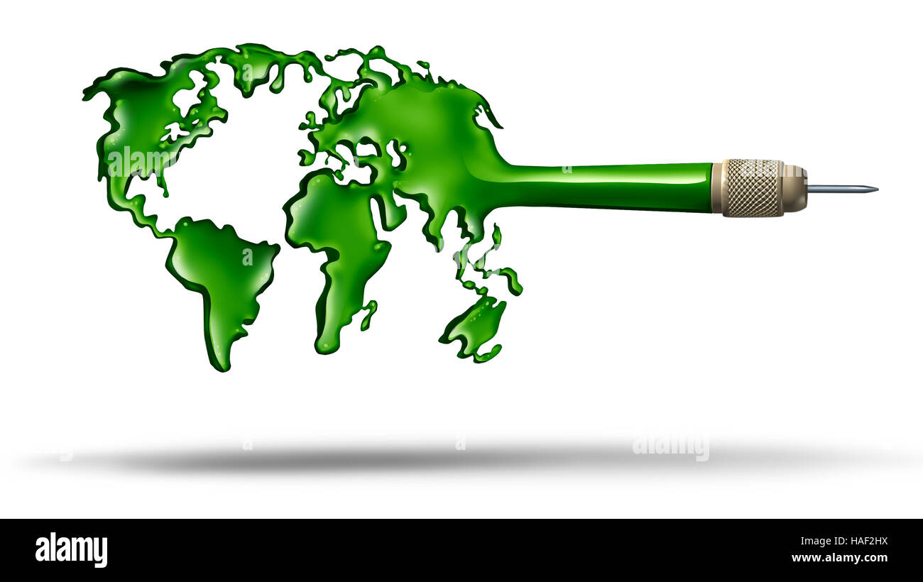 Global target Business concept and environmental and ecology protection symbol and world leadership icon as a dart - Stock Image