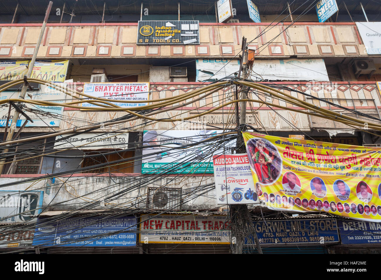 Dangerous Electrical Wiring Stock Photos A Outside Plug Street In Old Delhi With And Communications Buildings India