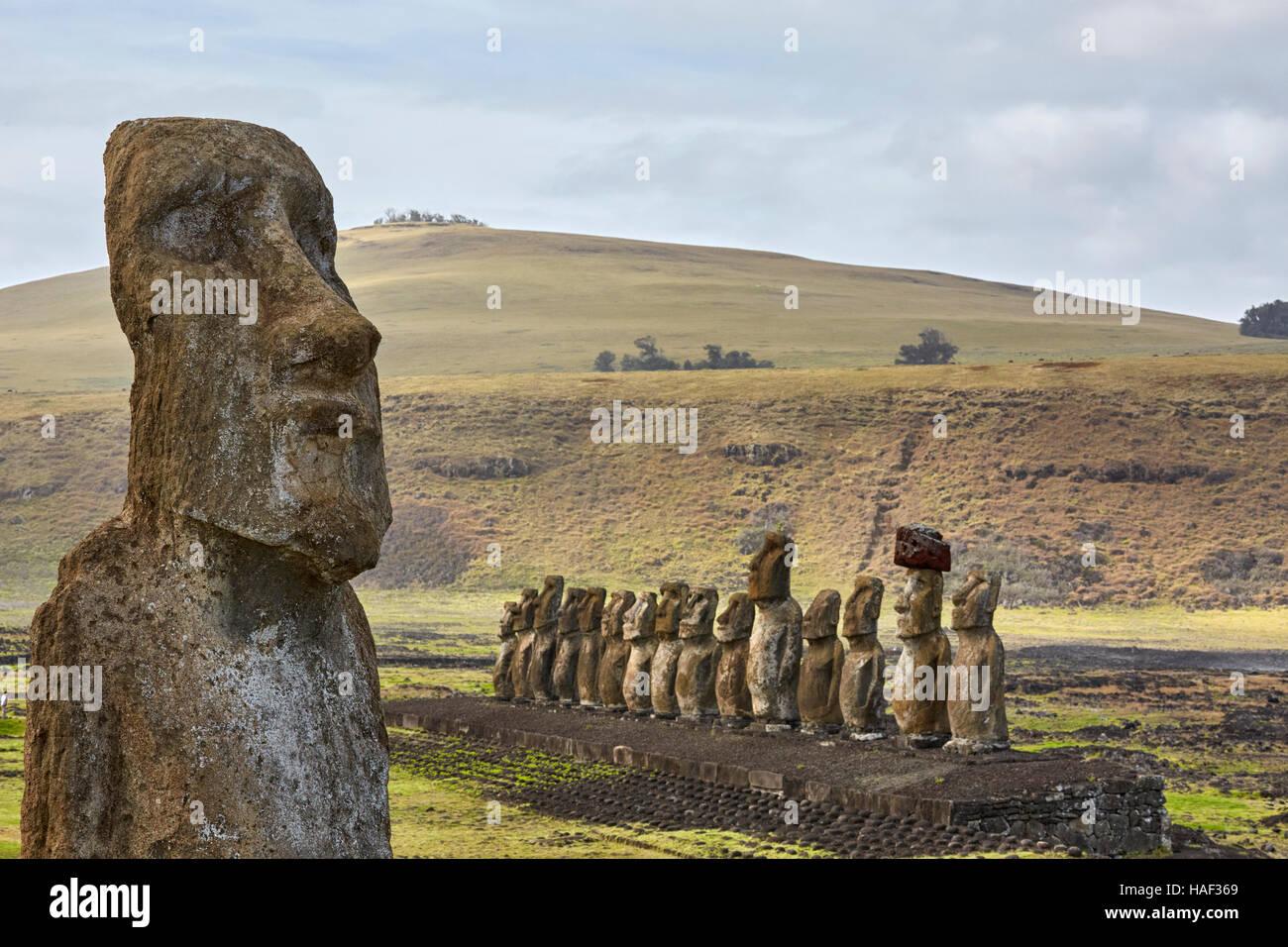 Traveling Moai, Ahu Tongariki, Easter Island - Stock Image