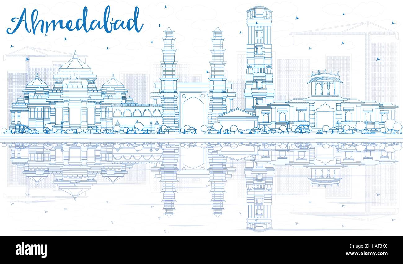Outline Ahmedabad Skyline with Blue Buildings and Reflections. Vector Illustration. Business Travel and Tourism - Stock Vector