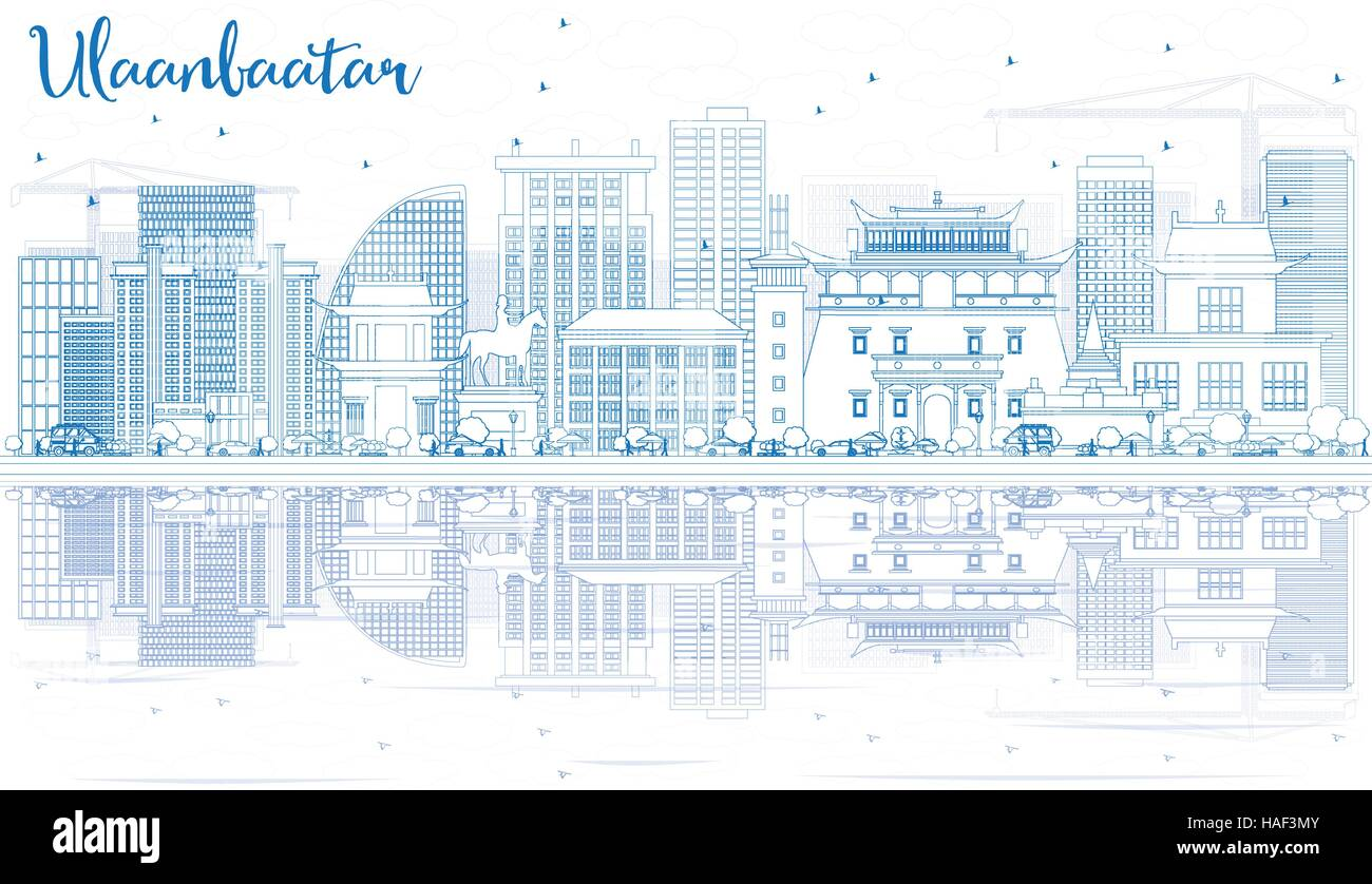 Outline Ulaanbaatar Skyline with Blue Buildings and Reflections. Vector Illustration. Business Travel and Tourism - Stock Vector