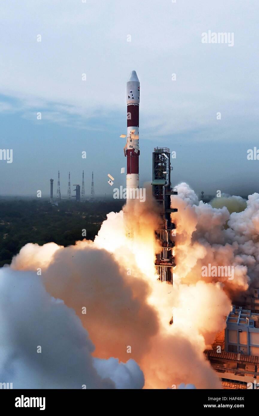 Indian Space Research Organisation Polar Satellite launch Vehicle carrying equipment monitor Sriharikota Andhra - Stock Image