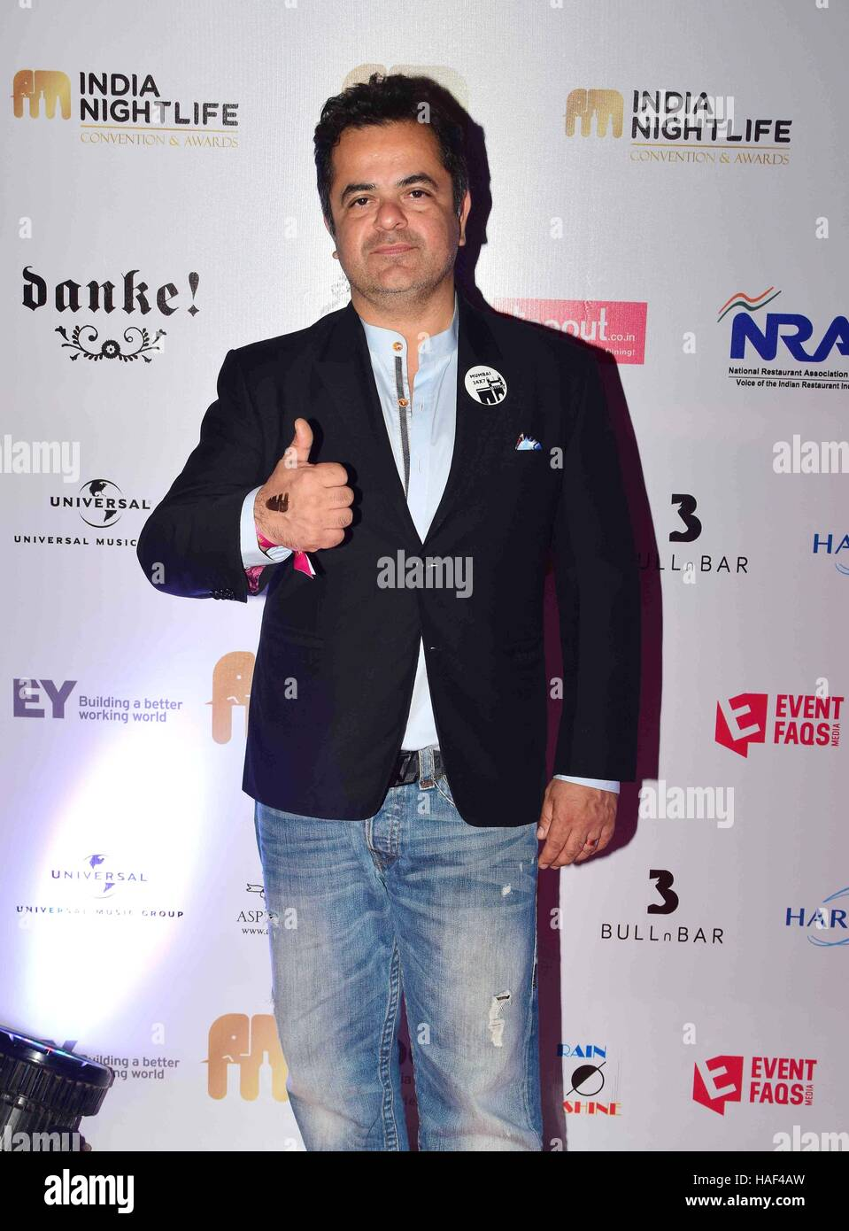 Chef Vicky Ratnani during the India Nightlife Convention Awards in Mumbai, India on September 26, 2016. - Stock Image