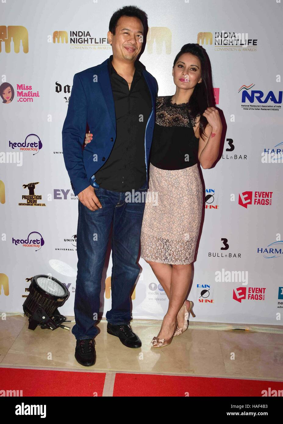 Ryan Tham owner of Trilogy night club his wife Bollywood actor Minissha Lamba India Nightlife Convention Awards - Stock Image