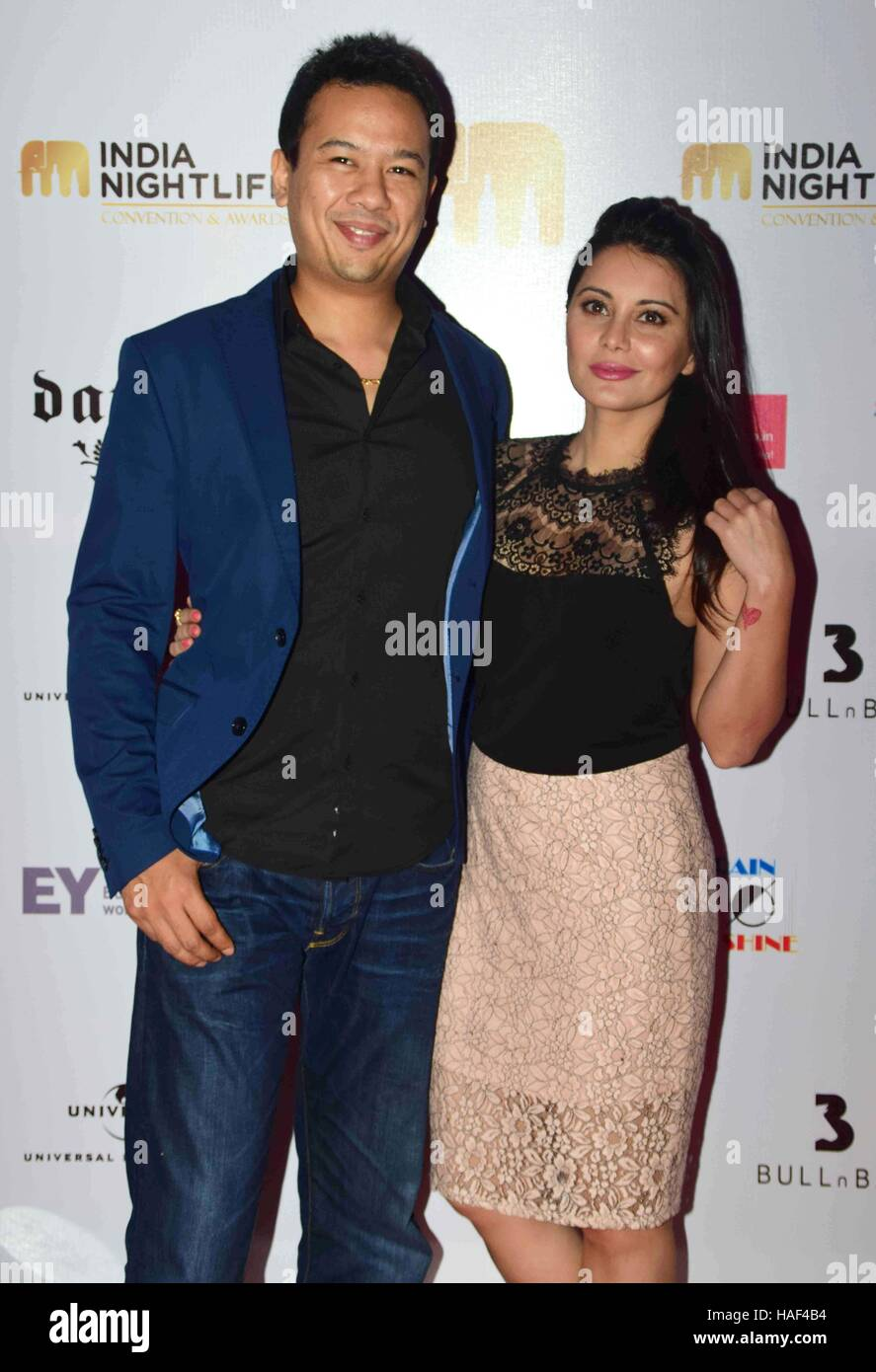 Ryan Tham, owner Trilogy night club and his wife Bollywood actor Minissha Lamba India Nightlife Convention Awards - Stock Image
