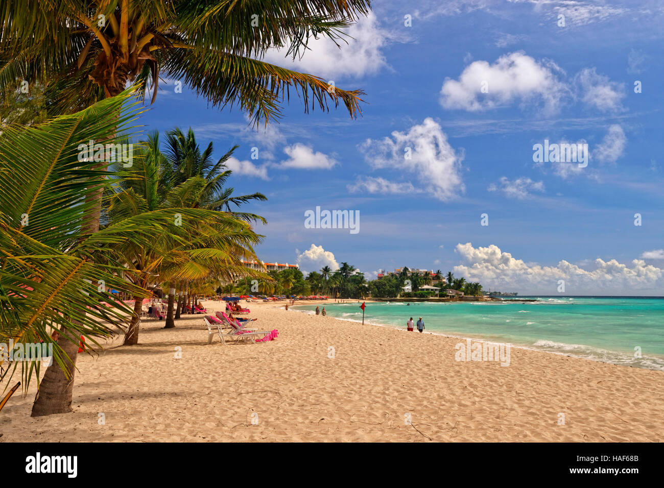 Dover Beach in front of Southern Palms Hotel, St. Lawrence Gap, Barbados, Caribbean. - Stock Image