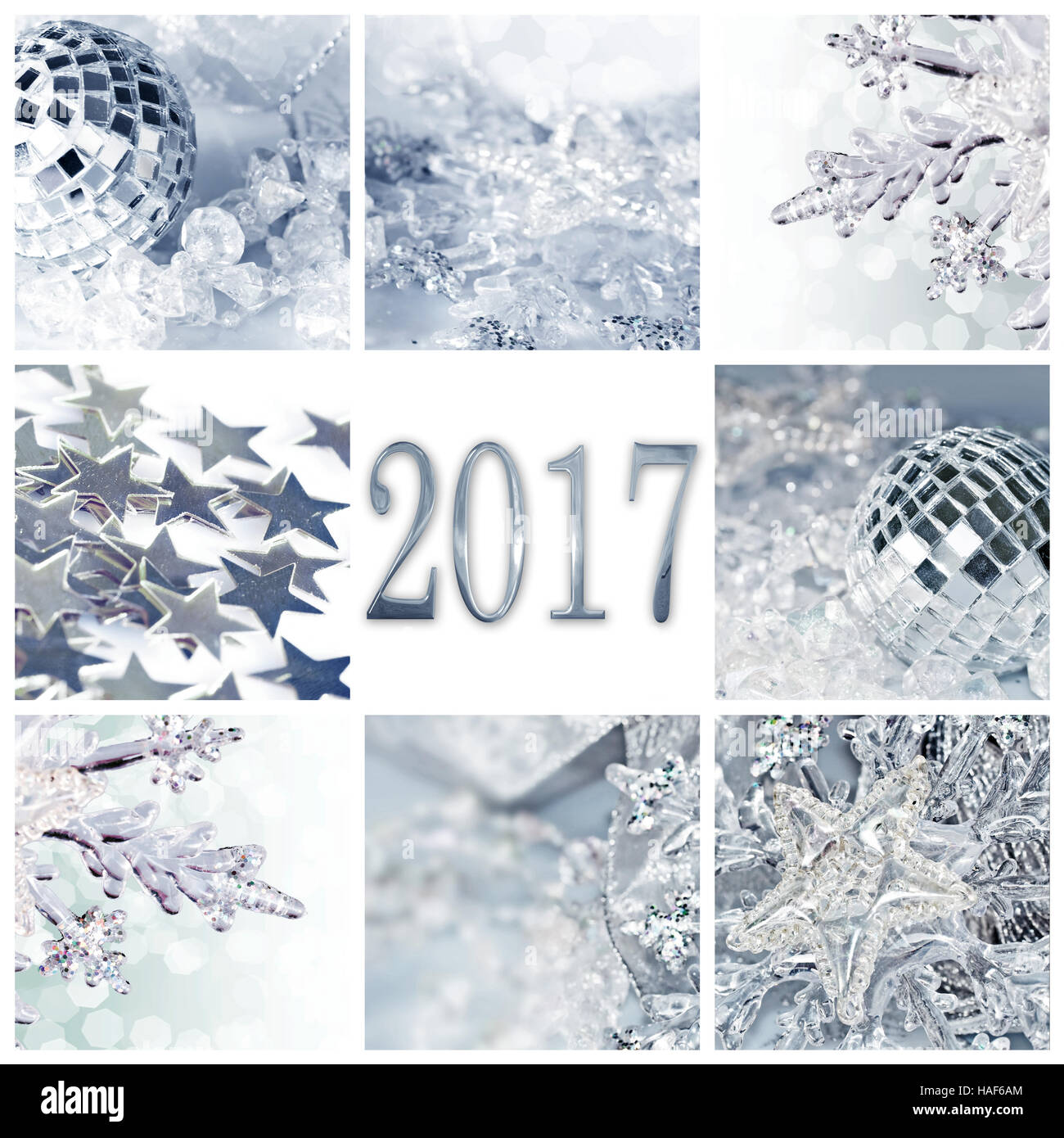 2017 Silver Christmas Ornaments Collage Square Greeting Card Stock