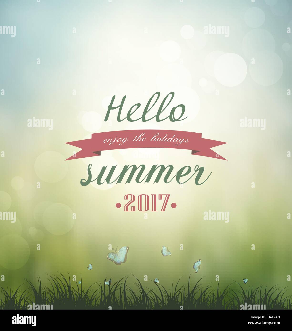 Summer Nature Background Grass, Butterflies And Title Inscription - Stock Vector