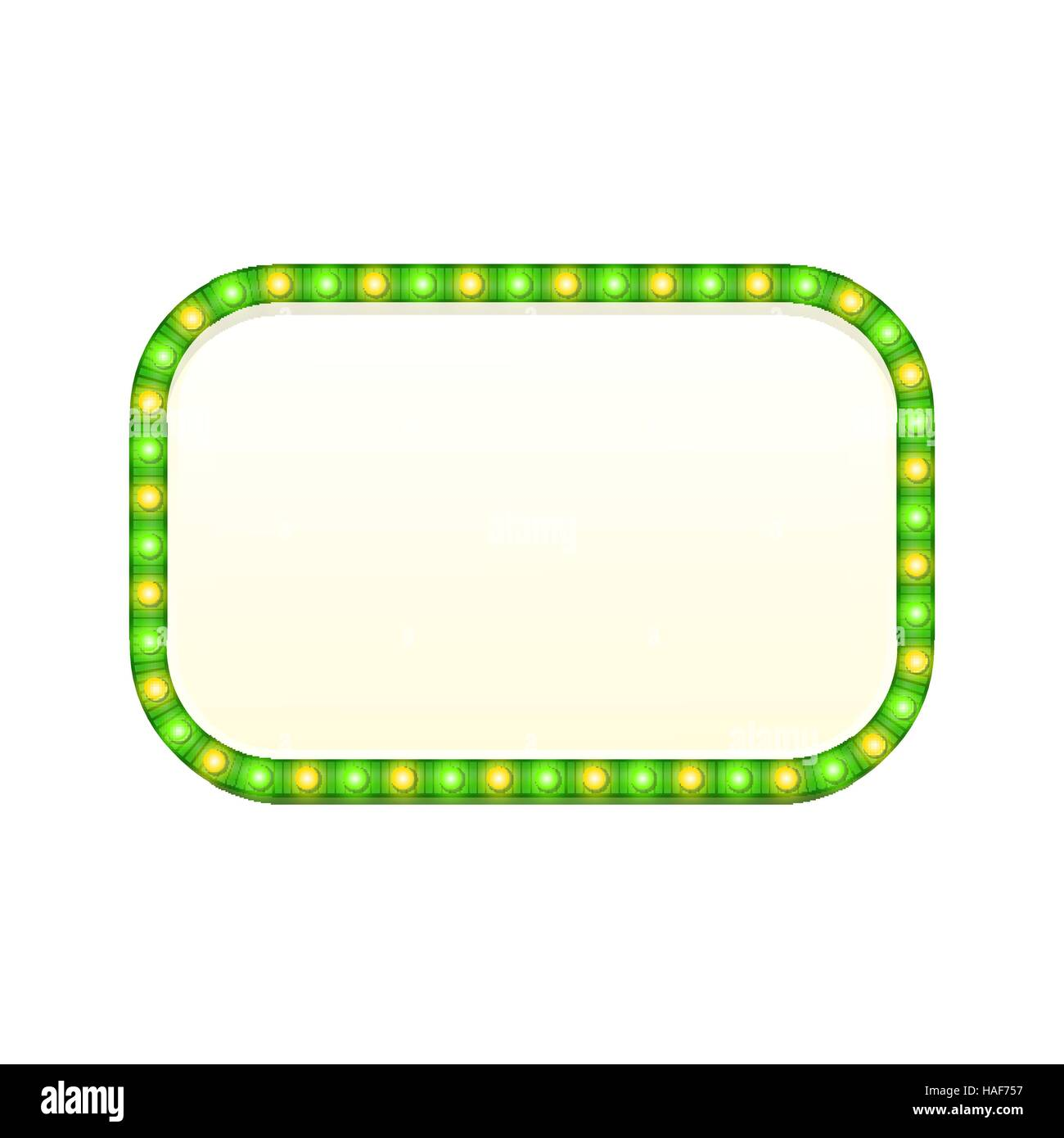 Blank 3d retro light rectangle banner with shining lights. Green rectangular sign with bulbs and bright blank space - Stock Image