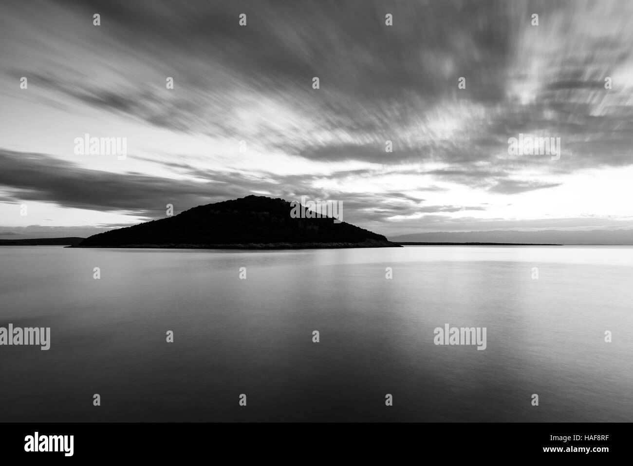 View across to Veli Osir Island, Losinj Island, Croatia. Seen from Osiri Beach at Cunski, a small village that lies - Stock Image