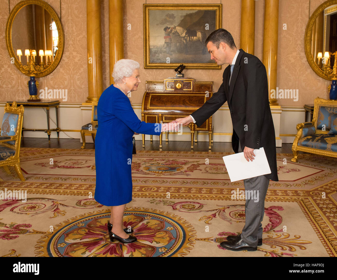 Queen Elizabeth II meets the Ambassador of Sweden Torbjorn Sohlstrom during a private audience at Buckingham Palace, - Stock Image
