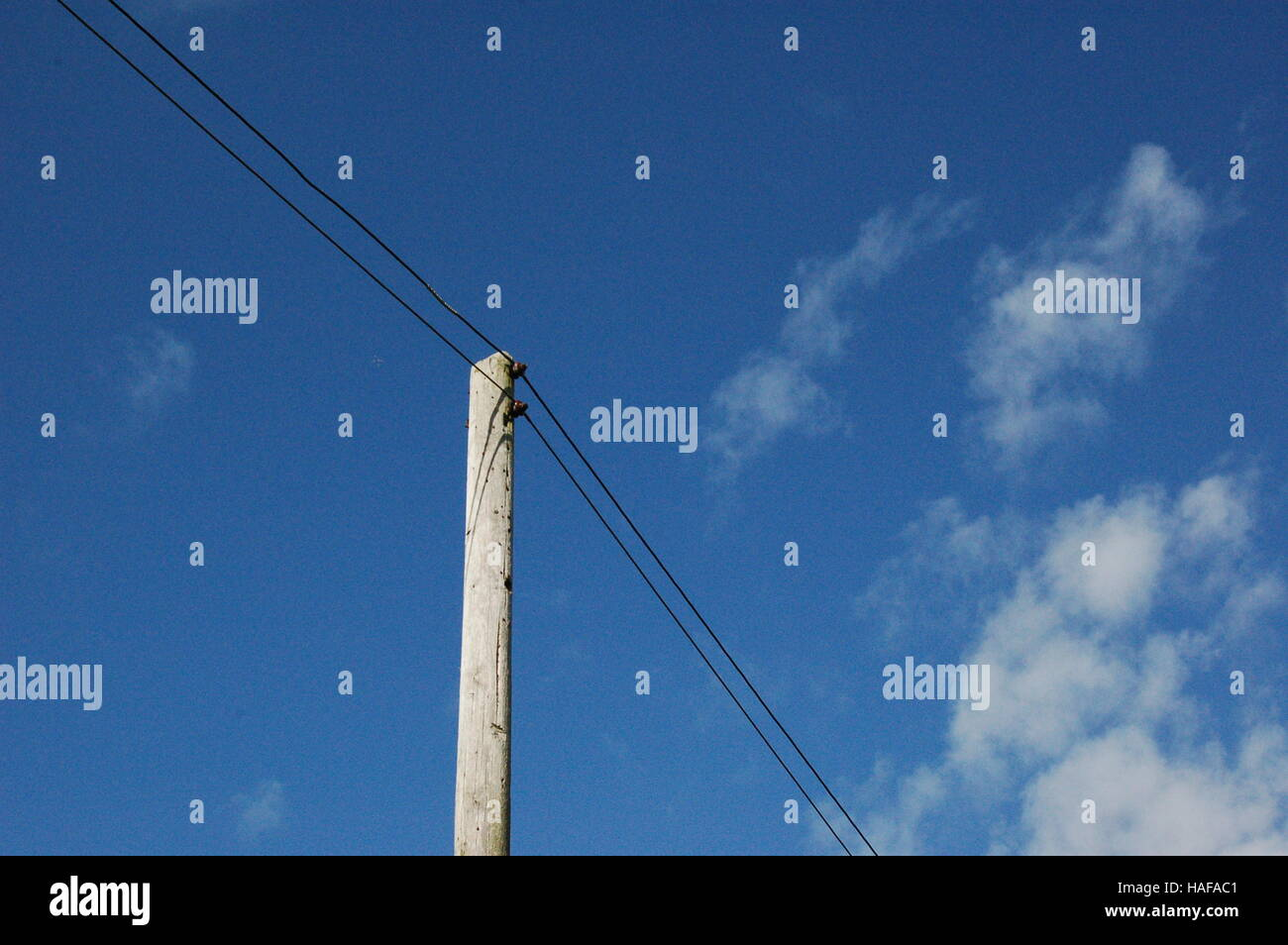 simple lamppost with wires - Stock Image