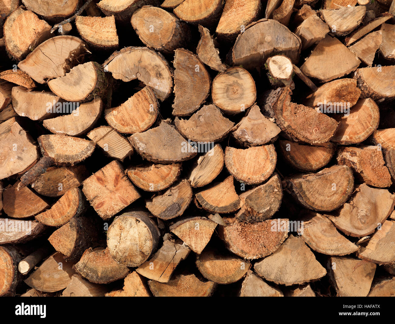 Stacked firewood supply background texture - Stock Image