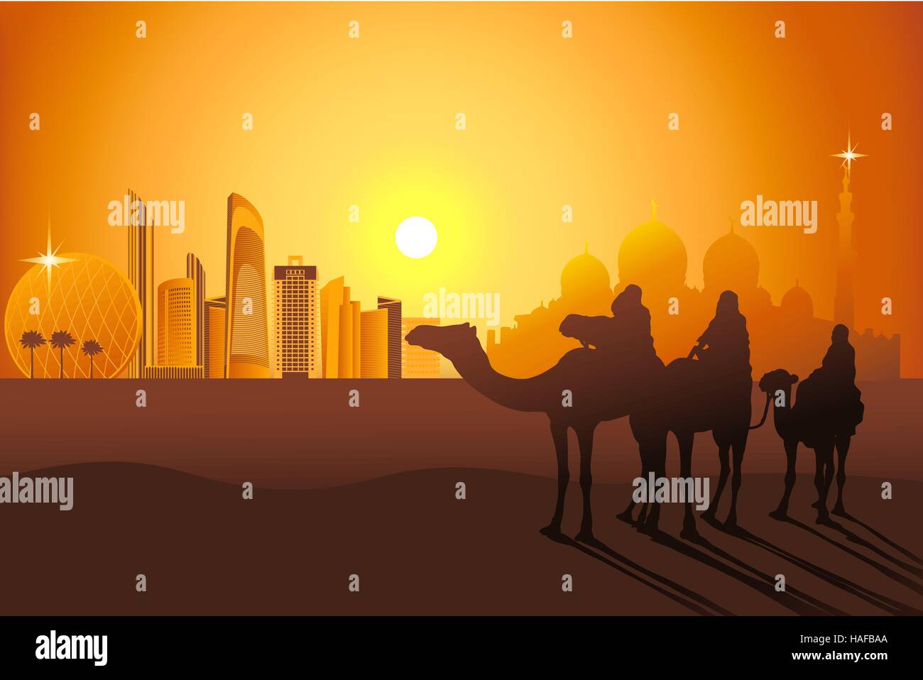 Three camel riders at the sunset in the desert on the Abu-Dhabi background vector illustration - Stock Vector