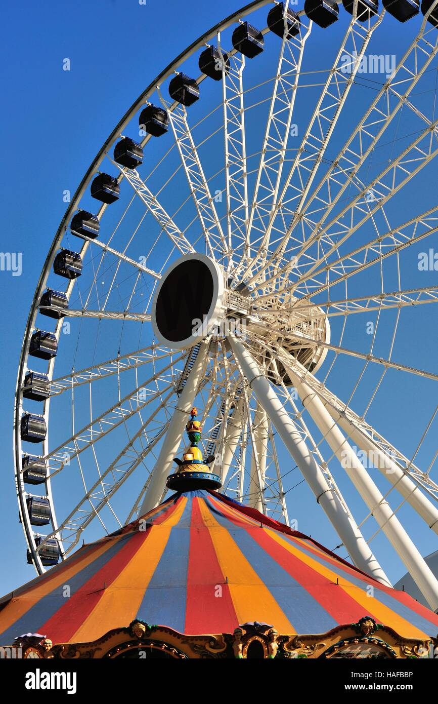 Centennial Wheel, the Ferris wheel at Chicago's Navy Pier that opened to the public in late May 2016. Chicago, - Stock Image