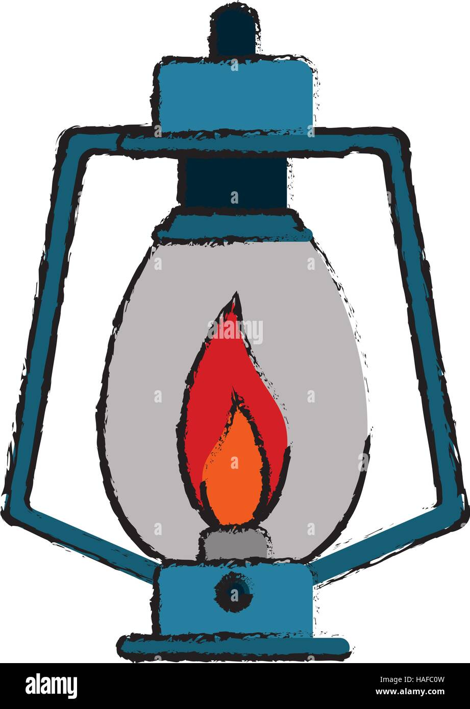 drawing lamp kerosene old lantern camping - Stock Vector