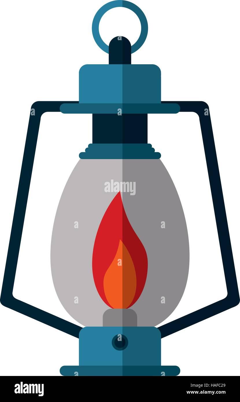 lamp kerosene old lantern camping - Stock Vector