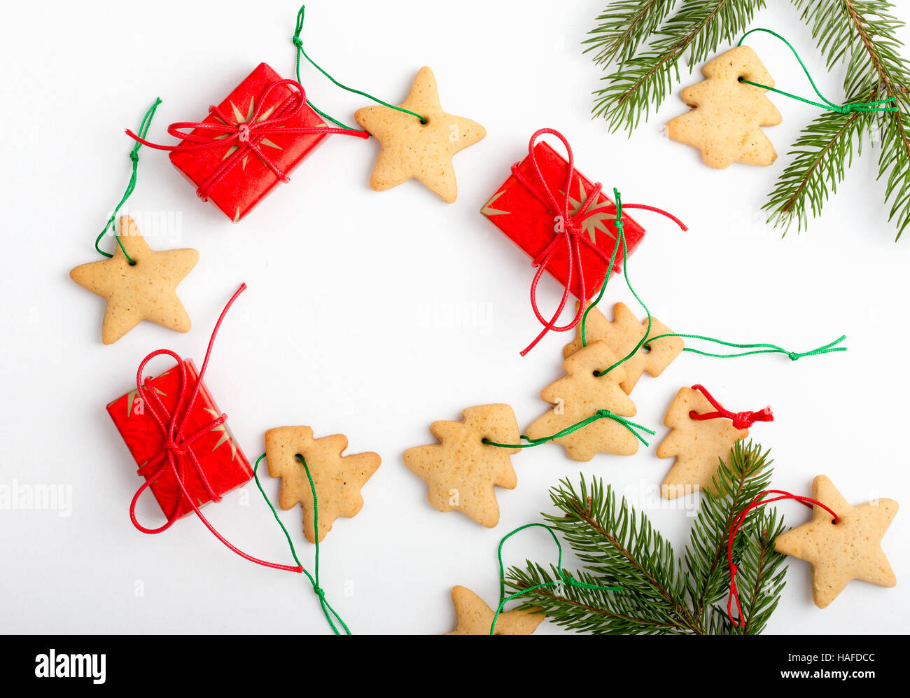 Frame of homemade christmas cookies and gifts with copy spase for ...