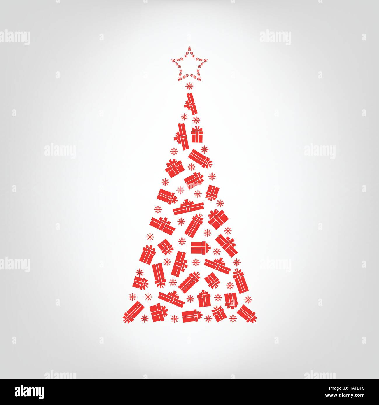 Vector Christmas tree from red gift box and snowflake with star on the top. Greeting card for New Year, Christmas - Stock Image