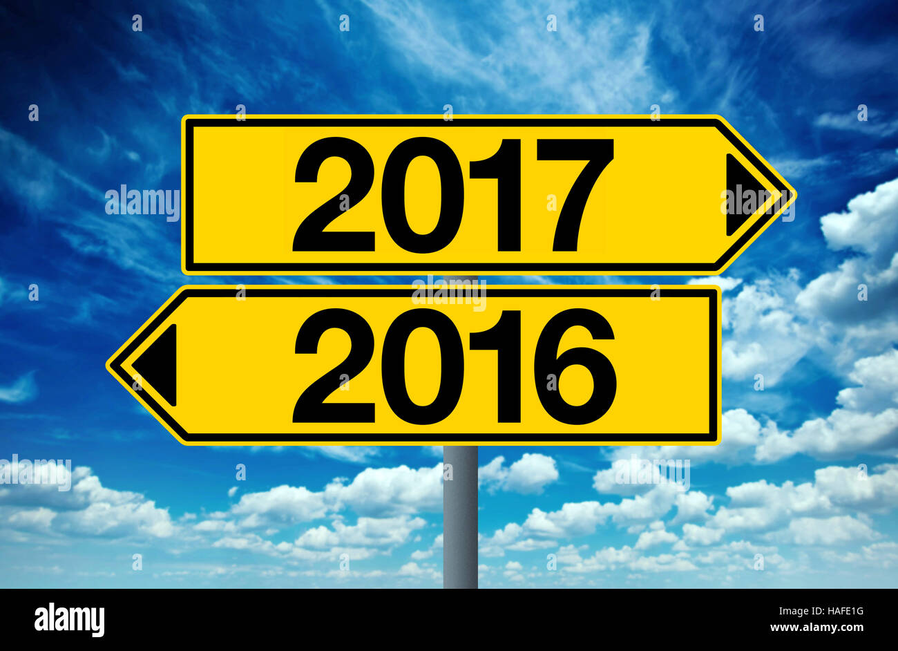 2016 and 2017 crossroad sign, happy new year - Stock Image