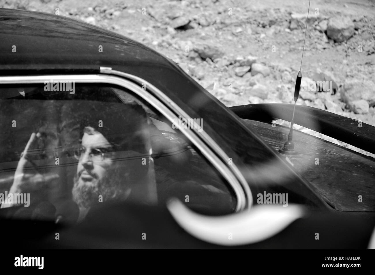The war between Hezbollah and Israel in 2006 and pictures of  Hasan Nasrallah, the leader of Hezbullah on every - Stock Image