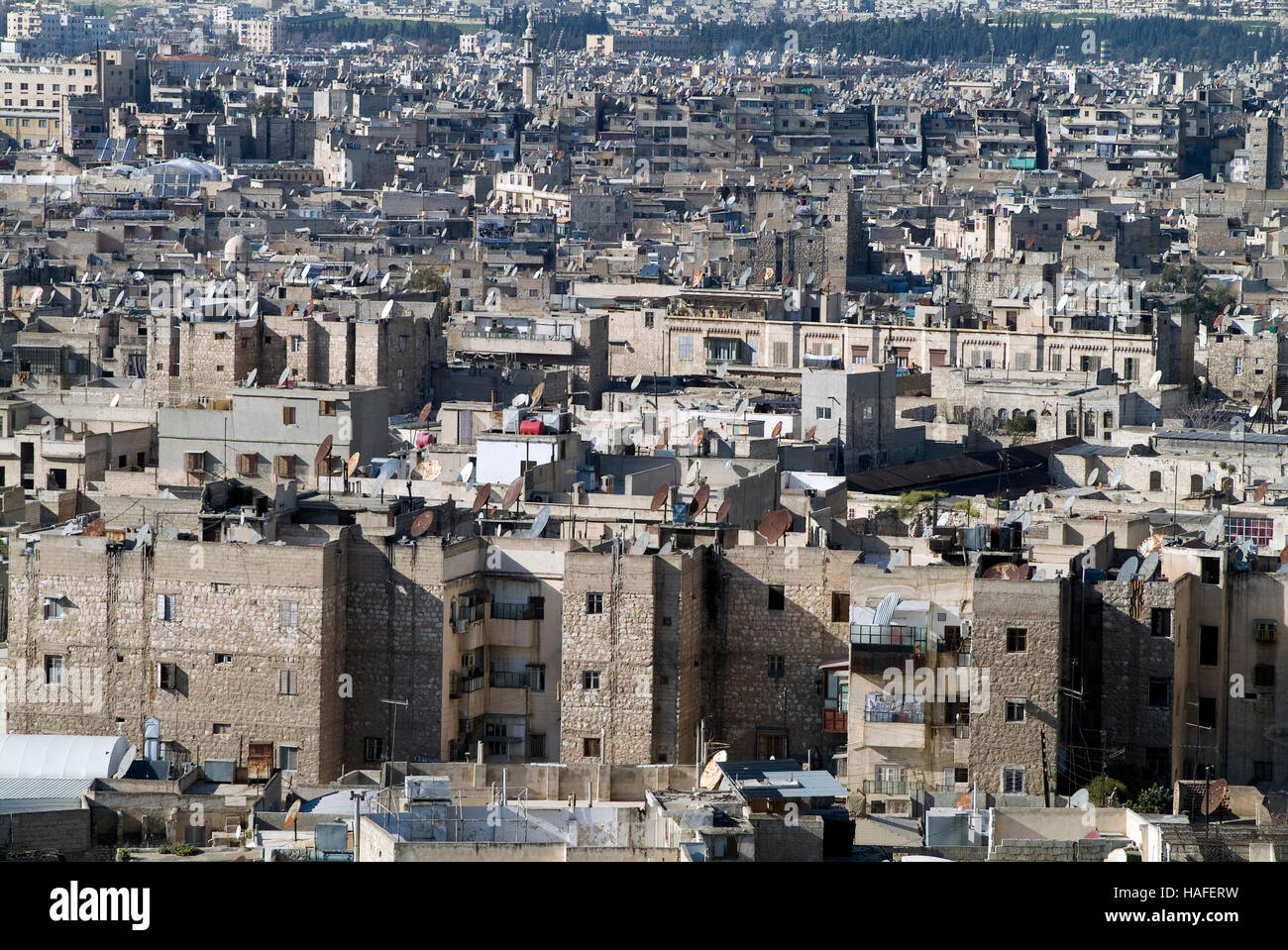 The view over Aleppo from the citadel, a large medieval fortified palace, before the civil war. - Stock Image