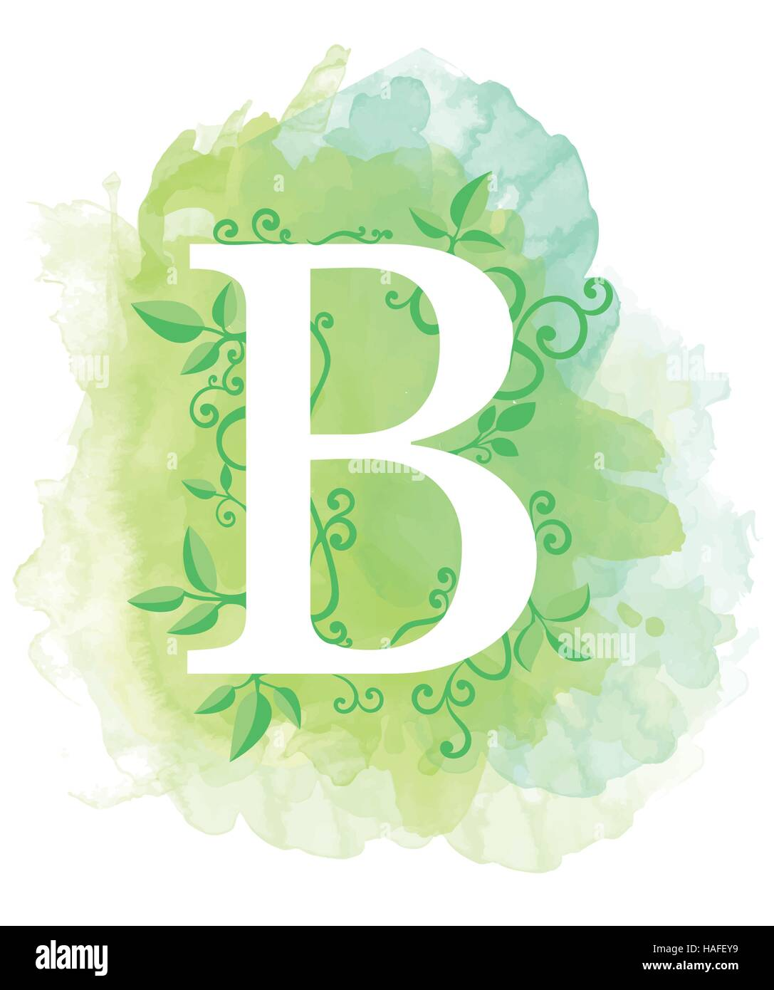 Watercolor Letter Calligraphy On Background Natural Elements Leaves Curls Design An Element For Web Poster Typographics