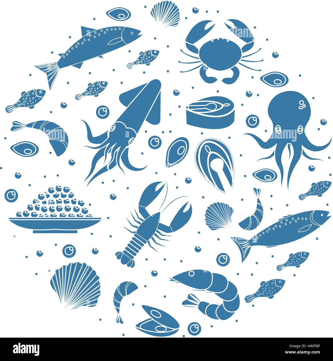 Seafood icons set in round shape,silhouette. Sea food collection isolated on white background. Fish products, marine Stock Vector