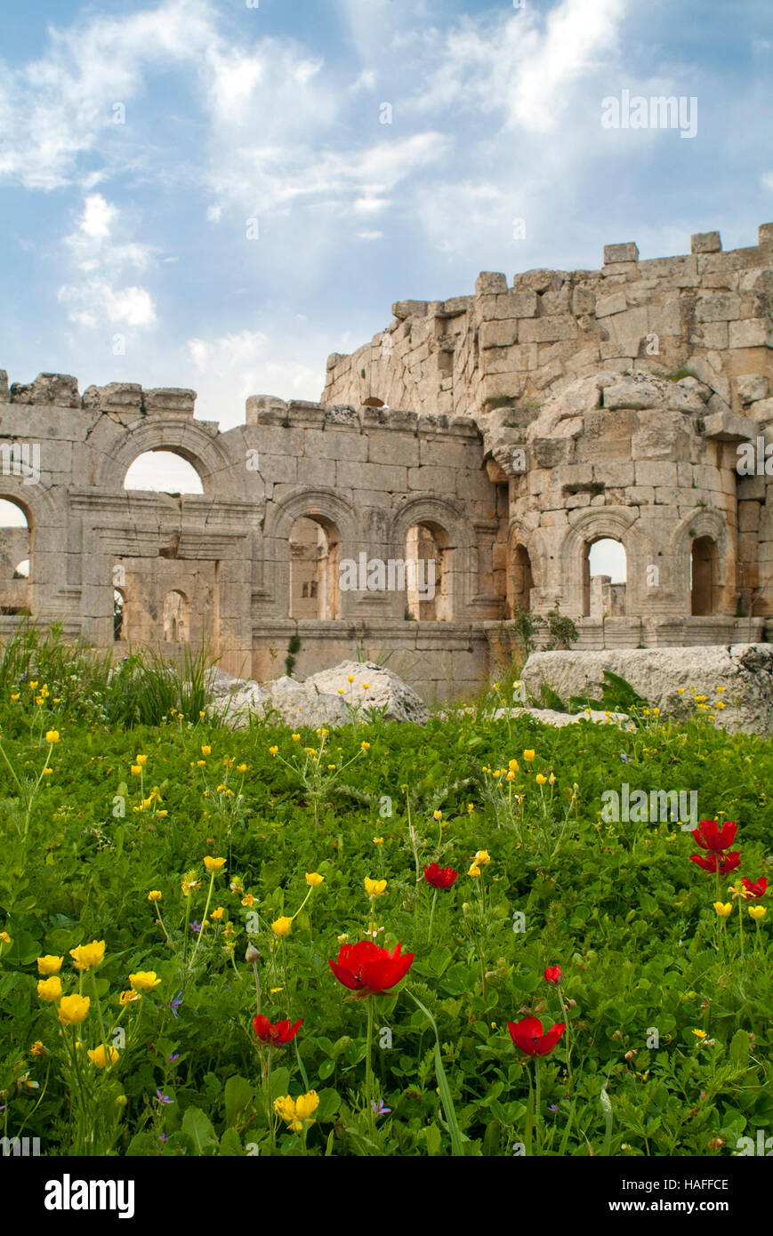 The ruins at the Church of Saint Simeon Stylites, built in the the 5th century AD. - Stock Image