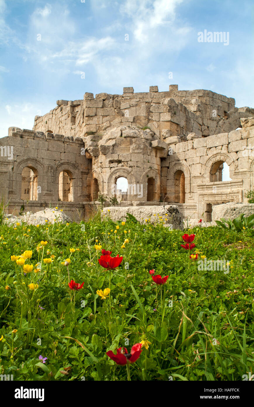 The ruins at the Church of Saint Simeon Stylites, built in the the 5th century AD, before the Syrian civil war. - Stock Image