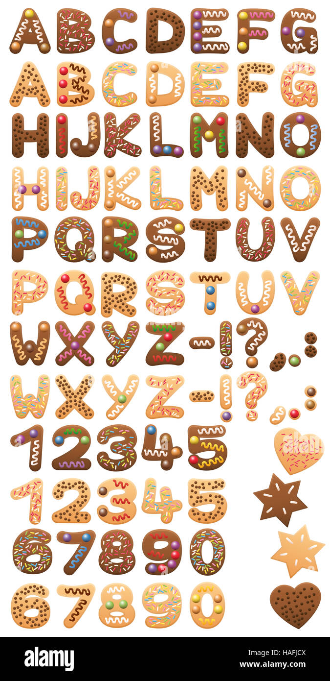 Christmas cookies alphabet assortment in duplicate - for your text with double letters. - Stock Image