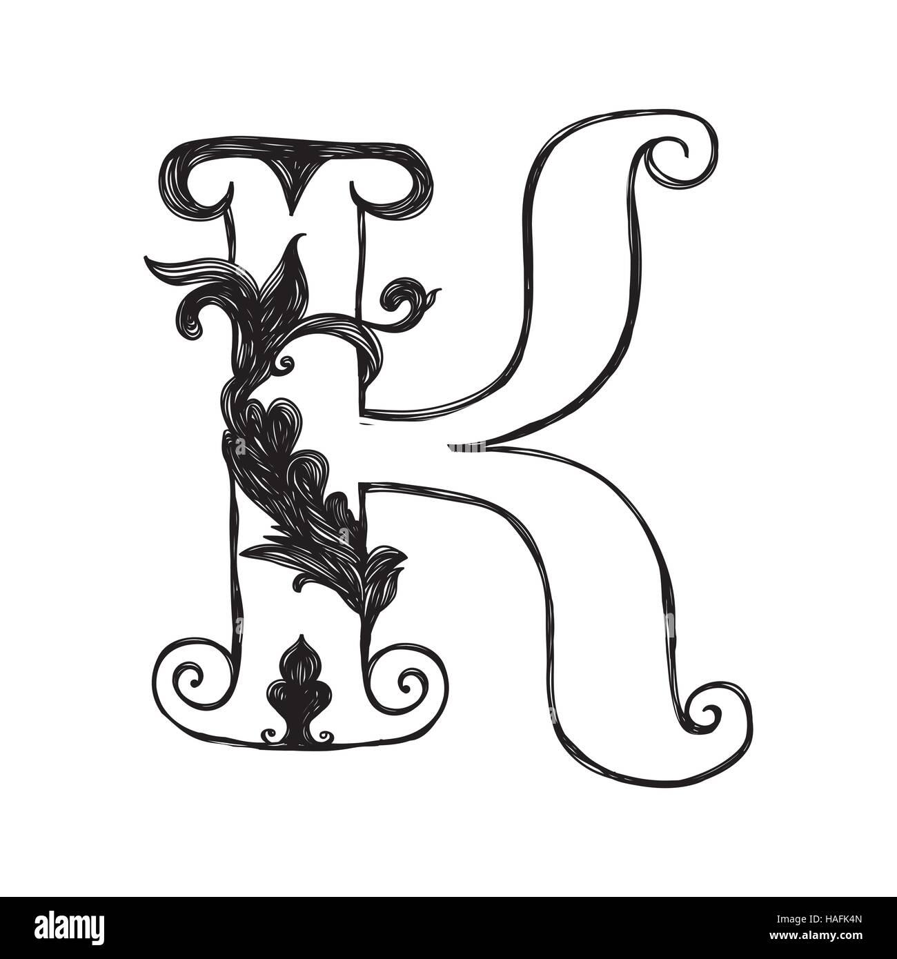 The Vintage Style Letter K Stock Vector Art Illustration Vector