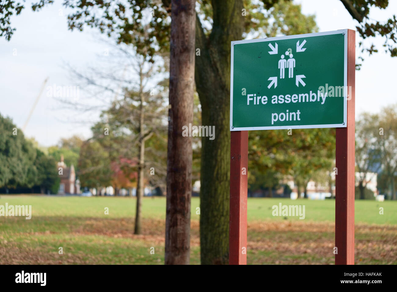Fire Assembly point sign in Victoria Park, London, UK - Stock Image